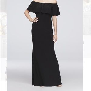 black off-shoulder formal dress